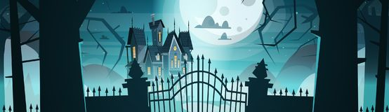 Gothic Castle Behind Gates In Moonlight Scary Building With Ghosts. Halloween Holiday Concept Flat Vector Illustration Royalty Free Stock Image