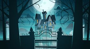 Gothic Castle Behind Gates In Moonlight Scary Building. With Ghosts Halloween Holiday Concept Flat Vector Illustration stock illustration