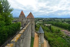 The gothic castle of Carcassonne, surrounded by beautiful nature.France. royalty free stock images