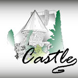 Gothic castle with a garden Royalty Free Stock Images