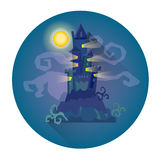 Gothic Castle House In Moonlight Halloween Holiday Icon Royalty Free Stock Photo