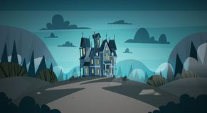 Gothic Castle House In Moonlight Scary Building With Ghosts. Halloween Holiday Concept Flat Vector Illustration Royalty Free Stock Photography