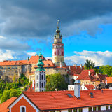 Gothic castle and Hradek tower in Cesky Krumlov Stock Photos