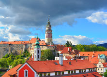 Gothic castle and Hradek tower in Cesky Krumlov Stock Image