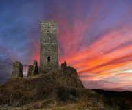 Old Medieval Castle. Ruins of the old medieval castle Hazmburk at sunrise. Landmark, Czech republic Royalty Free Stock Photos