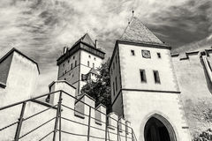 Gothic castle Karlstejn, ancient architecture, colorless Royalty Free Stock Photography