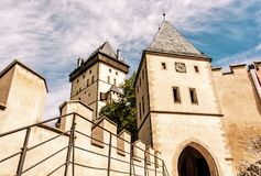Gothic castle Karlstejn, ancient architecture, yellow filter Stock Photo