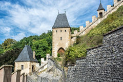 Gothic castle Karlstejn in Czech republic, walls and turrets Royalty Free Stock Photos