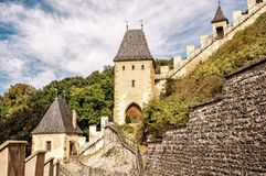 Gothic castle Karlstejn in Czech republic, yellow filter Stock Photo