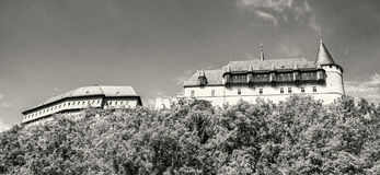 Gothic castle Karlstejn, side view, colorless Stock Photo