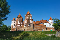 Gothic castle in Mir (Belarus). Stock Photos