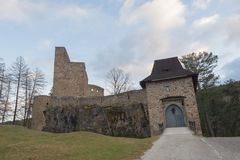 Gothic castle public ruin of Velhartice, Czechia, arcade, bridge, wall tower, gate. Gothic castle public ruin of Velhartice, Czechia, arcade, bridge, wall, tower Stock Photo