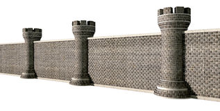 Gothic Castle Wall Perspective Stock Image