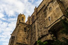 Gothic castle walls in Barcelona, Spain.  stock photo