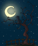 Gothic cat. A gothic night! A black cat looks the moon by a tree. Digital colors Royalty Free Stock Photo