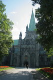 Gothic cathedral. Gothic church in Trondheim, Norway Royalty Free Stock Photo