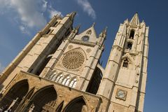 Gothic cathedral. Facade of the Gothic cathedral of Leon's city. Castilla y Leon, Spain Royalty Free Stock Image