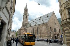 The gothic Cathedral of Bolzano Royalty Free Stock Images