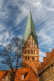 Gothic Cathedral church in the historic centre of Luneburg stock image