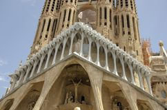 Gothic cathedral facade, Barcelona, Catalonia, Spain. Built in 1298 stock images