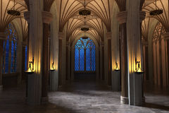 Free Gothic Cathedral Gallery At Night Royalty Free Stock Photography - 97698197