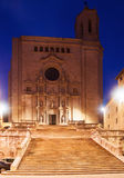 Gothic Cathedral at Girona in evening Stock Photography