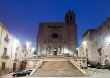 Gothic Cathedral at Girona in morning Stock Images