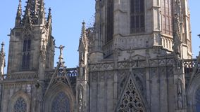 BARCELONA, SPAIN - FEBRUARY 19, 2019: Gothic cathedral in historic center, close up. Gothic cathedral in historic center, close up stock video footage