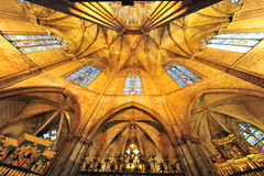 Gothic cathedral interior, Barcelona-Spain Stock Images