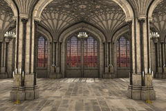 Gothic cathedral interior 3d illustration. Gorgeous view of gothic cathedral interior 3d CG illustration Stock Photos
