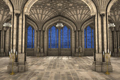 Gothic cathedral interior 3d illustration. Symmetrical view of gothic cathedral interior 3d CG illustration Royalty Free Stock Photo