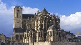 Gothic Cathedral, Le Mans city Stock Photo