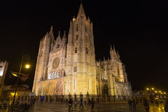 Gothic cathedral of Leon. Night view of the gothic cathedral of Leon Stock Images