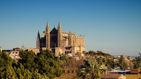 Palma de Mallorca / Majorca - Gothic Cathedral from a distance. Gothic Cathedral, main tourist attraction when visiting Palma de Mallorca - spanish island Royalty Free Stock Images
