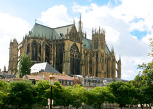 Gothic Cathedral, Metz. Gothic Cathedral standing above the city houses Royalty Free Stock Images