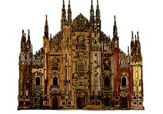 Gothic cathedral of milan royalty free illustration