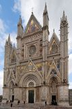 Gothic Cathedral of Orvieto. Frontal view of gothic Cathedral of Orvieto - Italy Stock Images