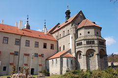 Gothic cathedral outside in Trebic Stock Image