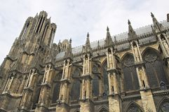 Gothic cathedral Rheims in France Stock Image