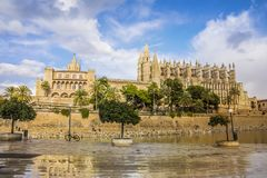 The gothic Cathedral of Santa Maria in Palma de Mallorca, Spain. Palma de Mallorca, Spain. Gothic Cathedral of Santa Maria Stock Photo