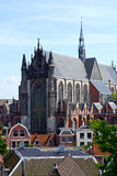 Gothic cathedral. Gothic style cathedral (Hooglandse Kerk), a protestant church dominating its neigborhood in the old university town of Leiden, the Netherlands Royalty Free Stock Photos