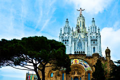 Gothic cathedral on the top of Tibidabu mountain Royalty Free Stock Photo