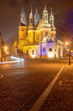 Gothic cathedral towers at night Stock Images