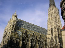Gothic Cathedral in Vienna. Gothic-style St. Stephans cathedral with elaborate spires, located in the heart of Vienna Austria royalty free stock photo