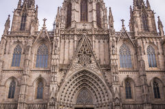 Gothic Catholic Cathedral in Barcelona, Catalonia, Spain. Gothic Catholic Cathedral Facade in Barcelona, Catalonia, Spain Royalty Free Stock Images