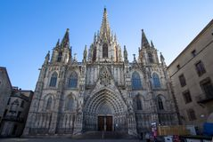 Gothic Catholic Cathedral in Barcelona Royalty Free Stock Photos