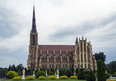 Gothic catholic church. On gray sky backgrounds Royalty Free Stock Image