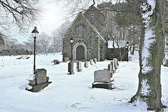 Gothic Chapel. Ellingwood Chapel, a Gothic Revival structure built in 1920. Located in Nahant Massachusetts. Shown here after a snow storm royalty free stock image