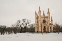 Gothic chapel in Alexandria park, Peterhof near Saint Petersburg, Russia stock photos