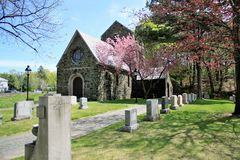 Gothic Chapel In Spring. The cemetery was established in 1856 on 2 acres of land, and has been extended several times to its present size. Its dominant feature royalty free stock photo
